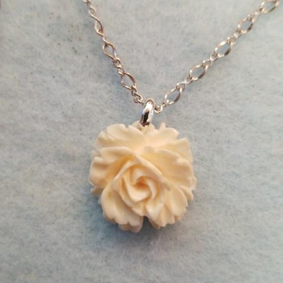 Unknown Jewelry Carved Bone Rose Necklace Poshmark